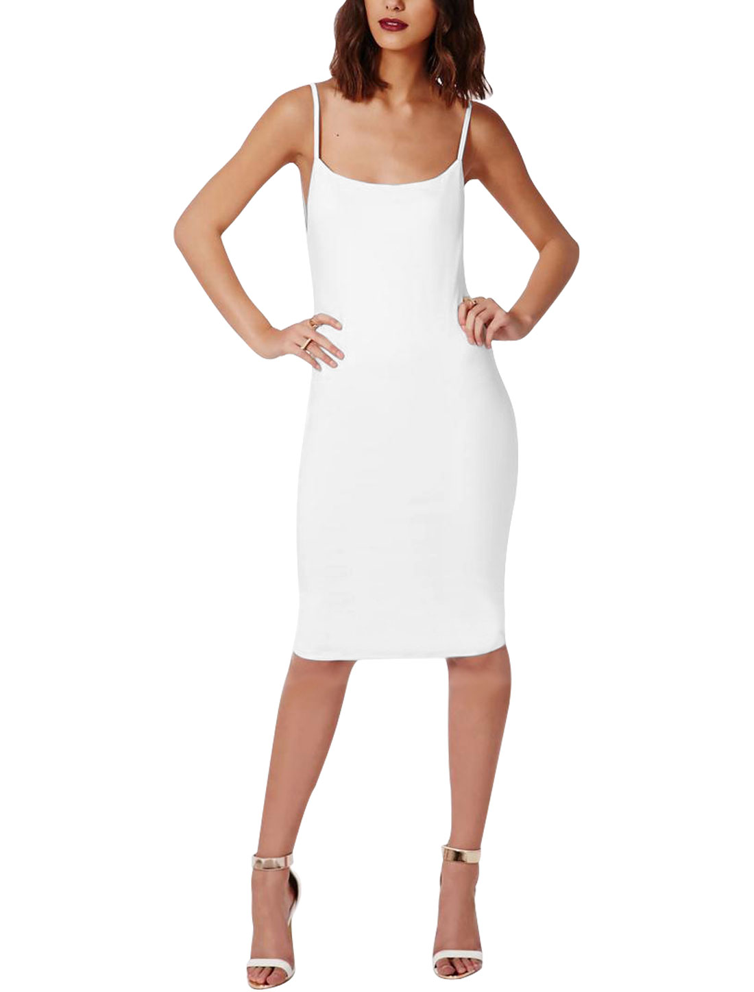 Women Scoop Neck Backless Full Lined Sheath Dress White M