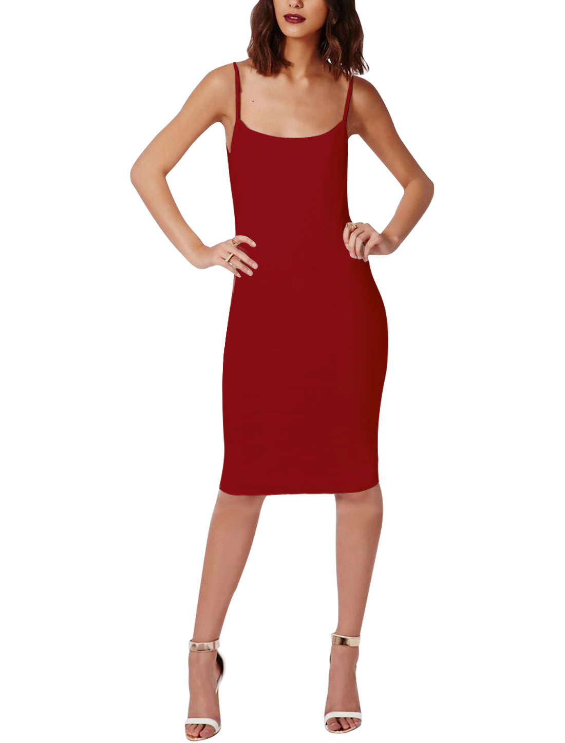 Women Scoop Neck Backless Spaghetti Straps Wiggle Dress Warm Red M