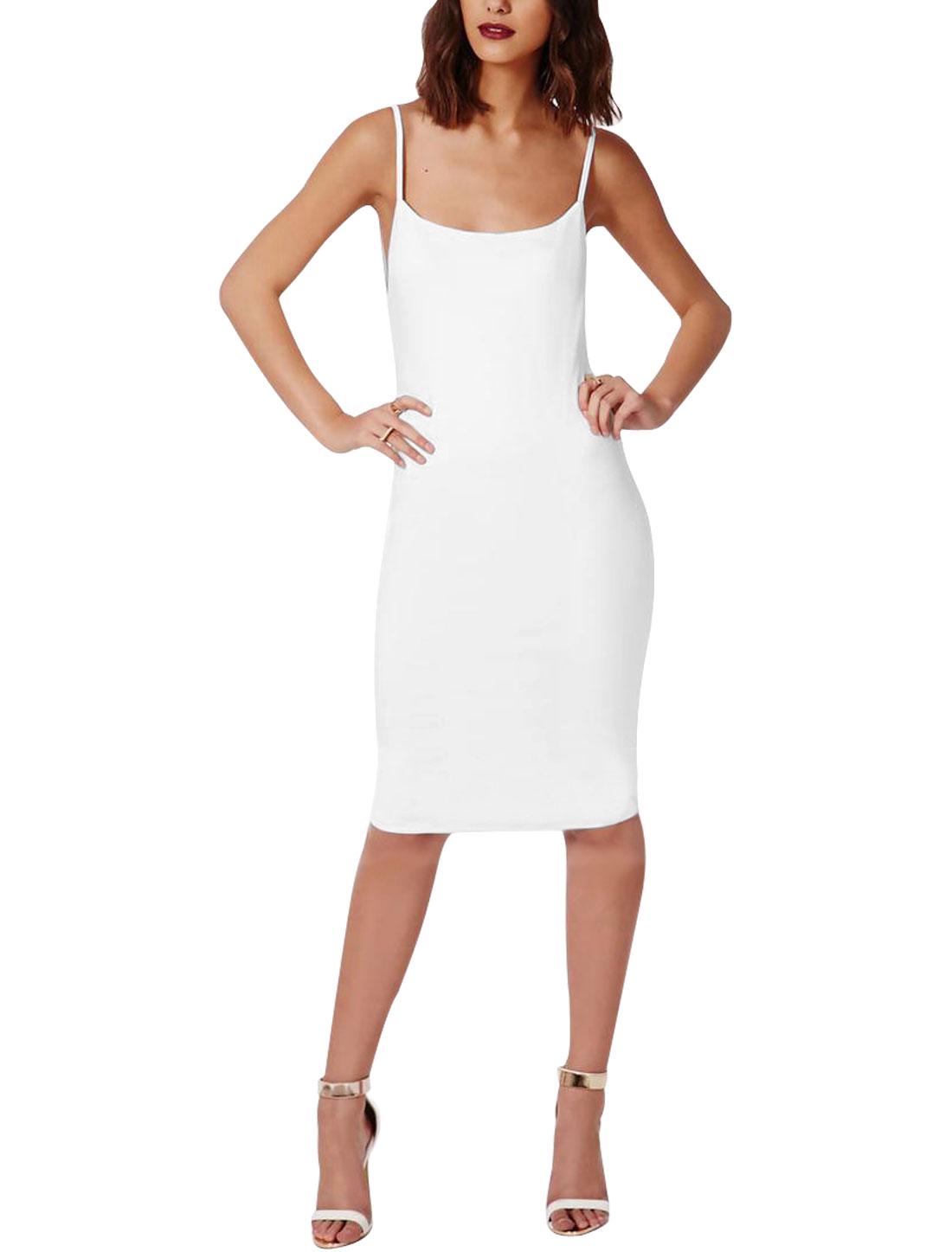 Women Scoop Neck Backless Full Lined Tight Dresses White L