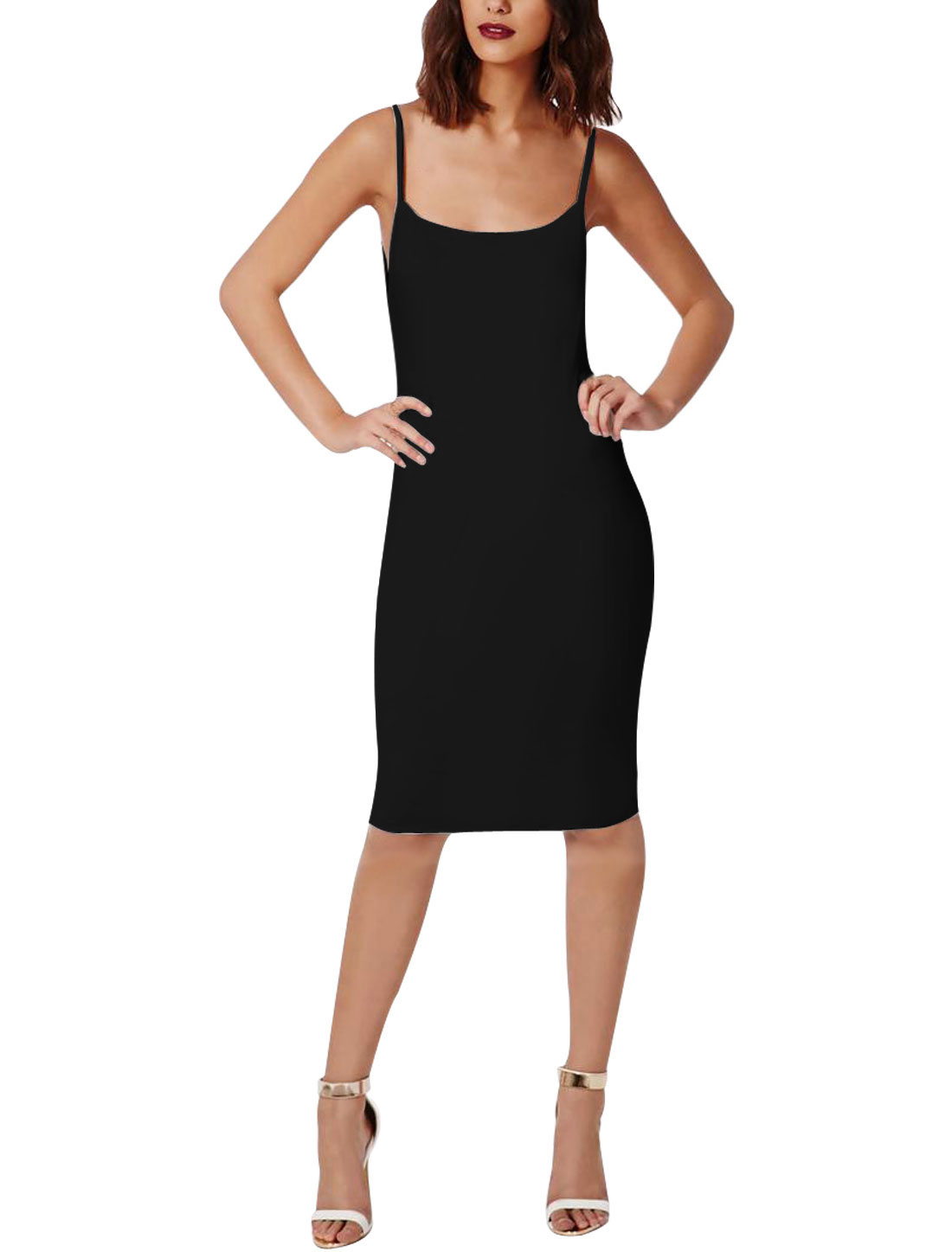 Women Scoop Neck Backless Sleeveless Bodycon Dress Black L