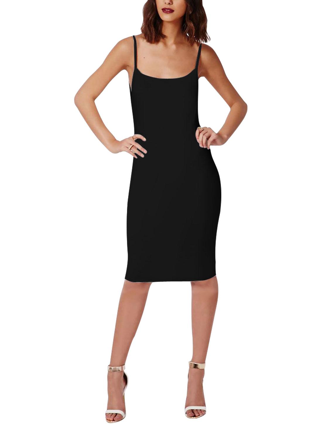 Ladies Scoop Neck Sleeveless Full Lined Tight Dresses Black XS