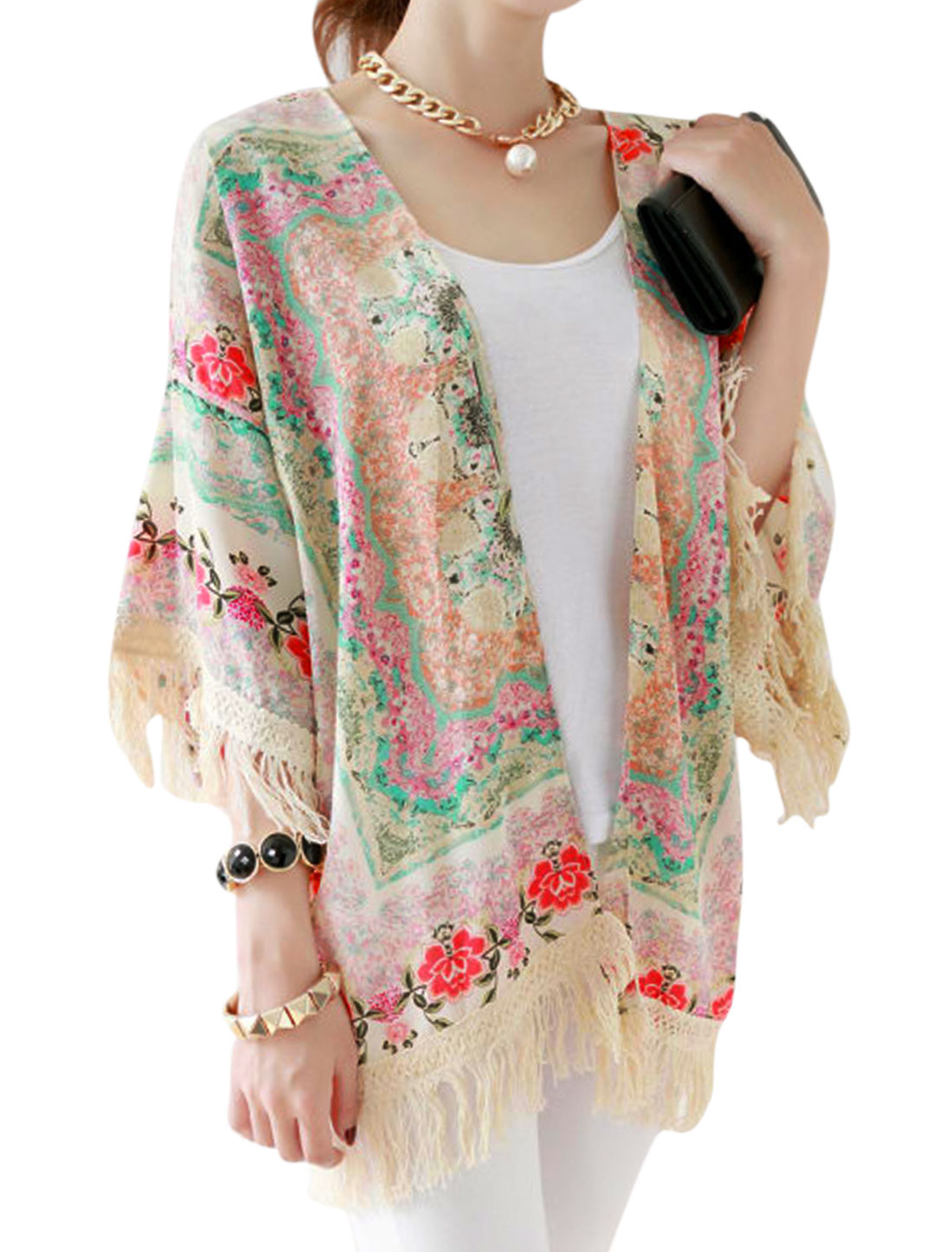 Women 3/4 Sleeves Floral Prints Front Opening Tassels Cardigan Multicolor XS