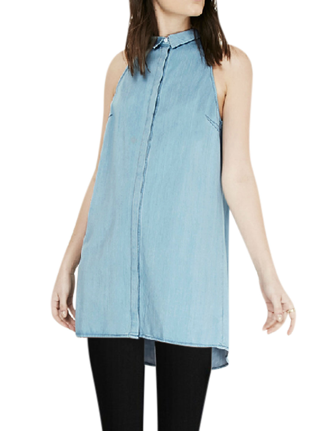 Women Sleeveless Button Down Leisure A-Line Tunic Shirts Blouse Sky Blue M