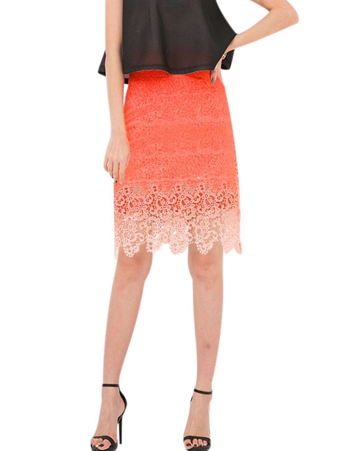 Women High Waist Dip-Dye Crochet Straight Skirts Orange M