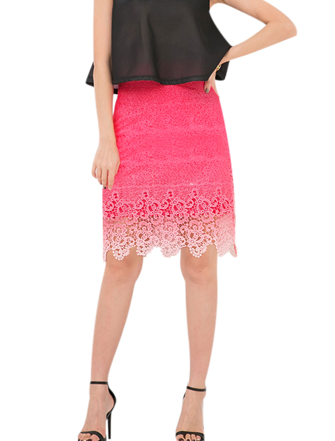 Women Partial Lined Crochet Dip-Dye Straight Skirts Fuchsia M