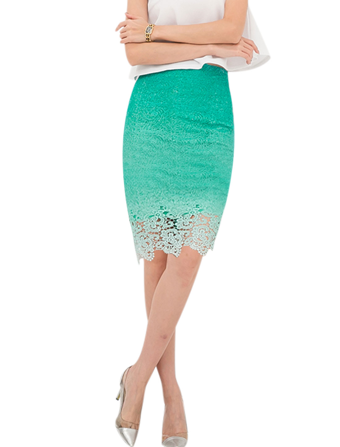 Ladies Crochet Dip-Dye Straight High Waisted Skirts Green M