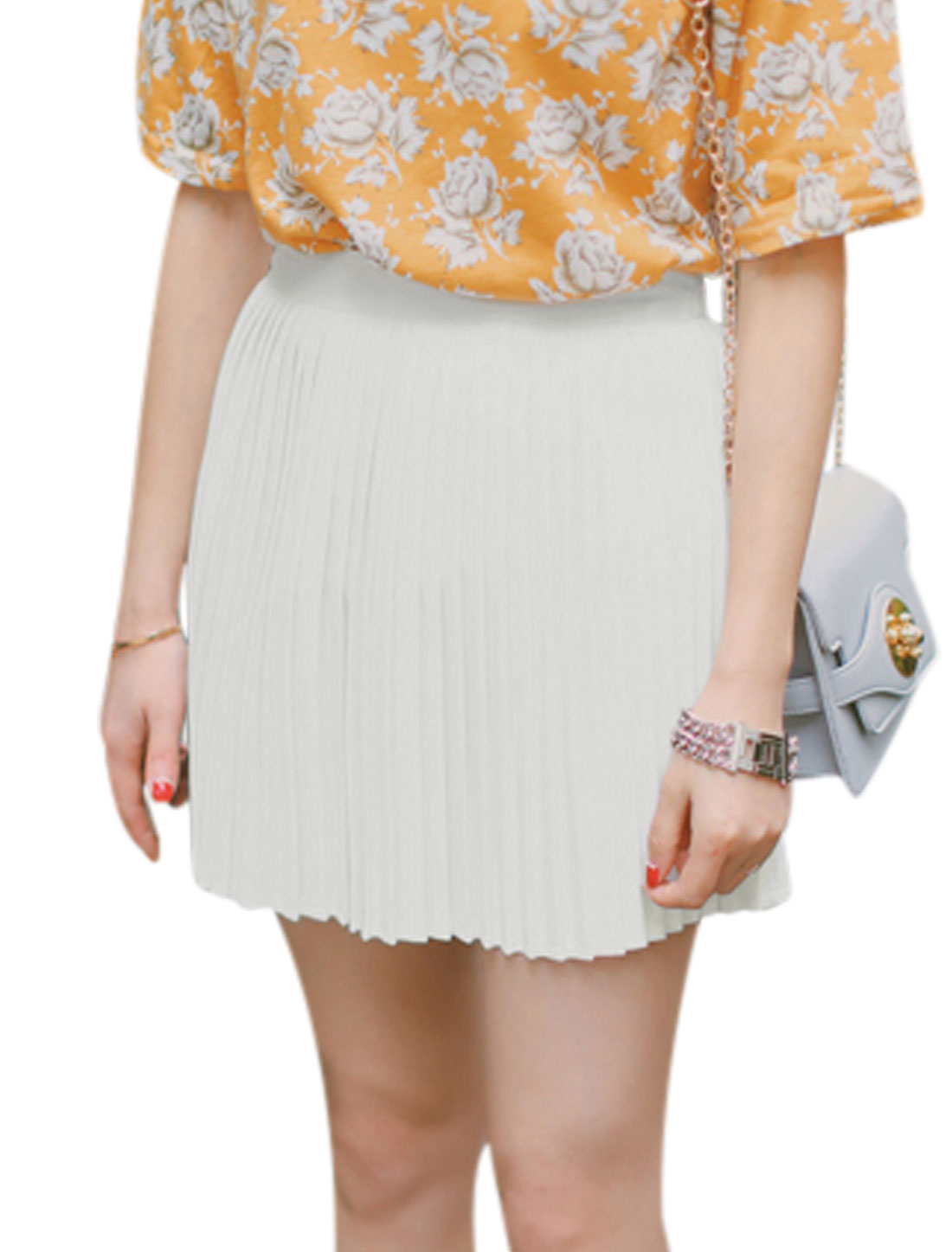 Ladies High Waisted Unlined Pleated Mini Skirts White M