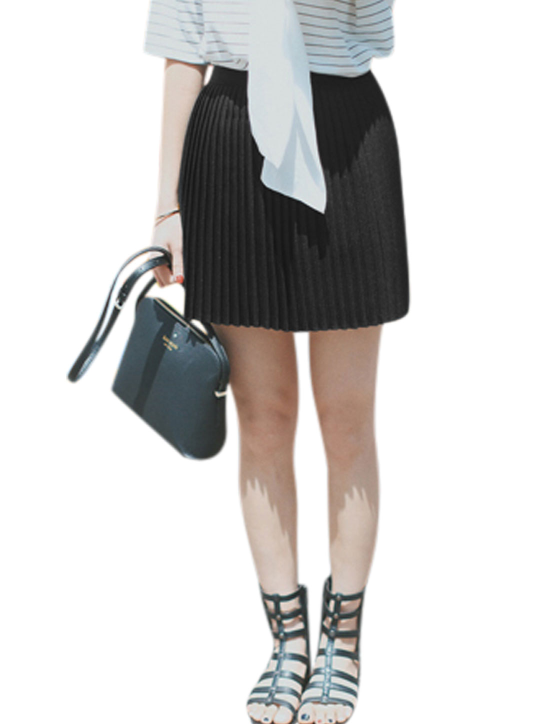 Women Unlined Hidden Zipper Pleated Casual Mini Skirts Black M