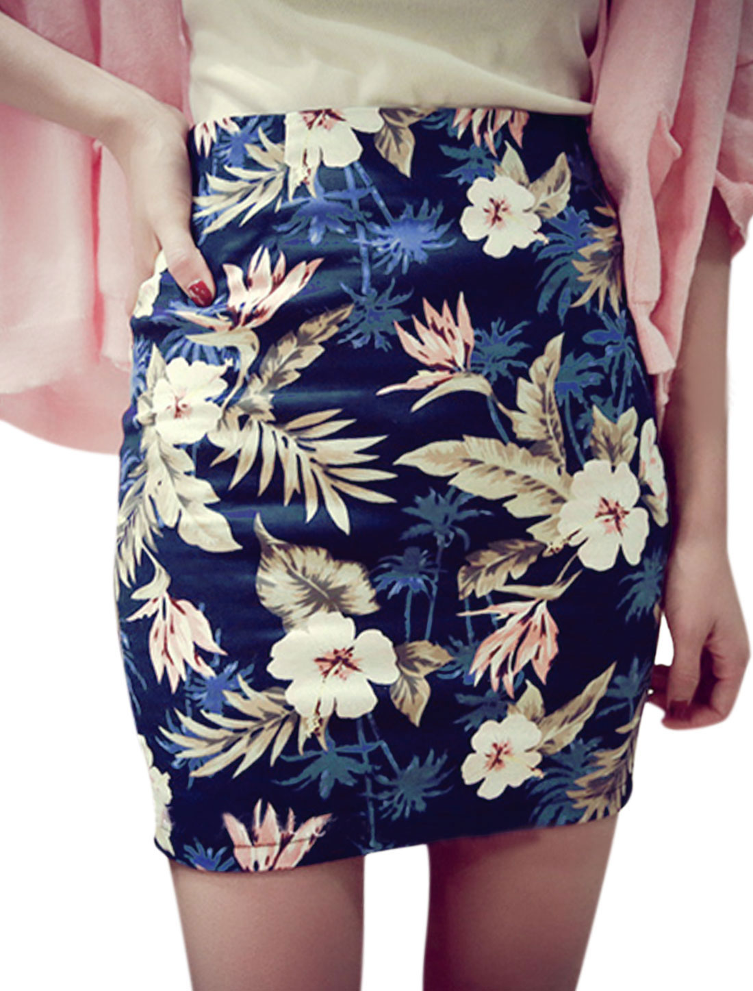Lady Flower Prints Concealed Zipper Back Unlined Pencil Skirt Navy Blue M
