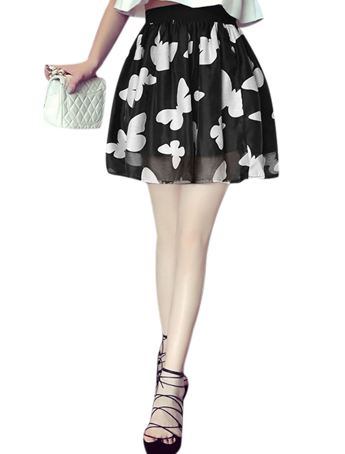 Lady Butterfly Design High Waist Band Fully Lined Skirt Black XS