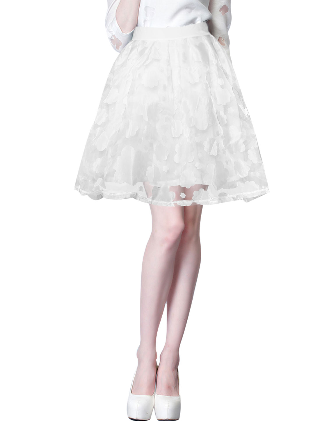 Woman Floral Design Elastic Waist Back Fully Lined Organza Skirt White S