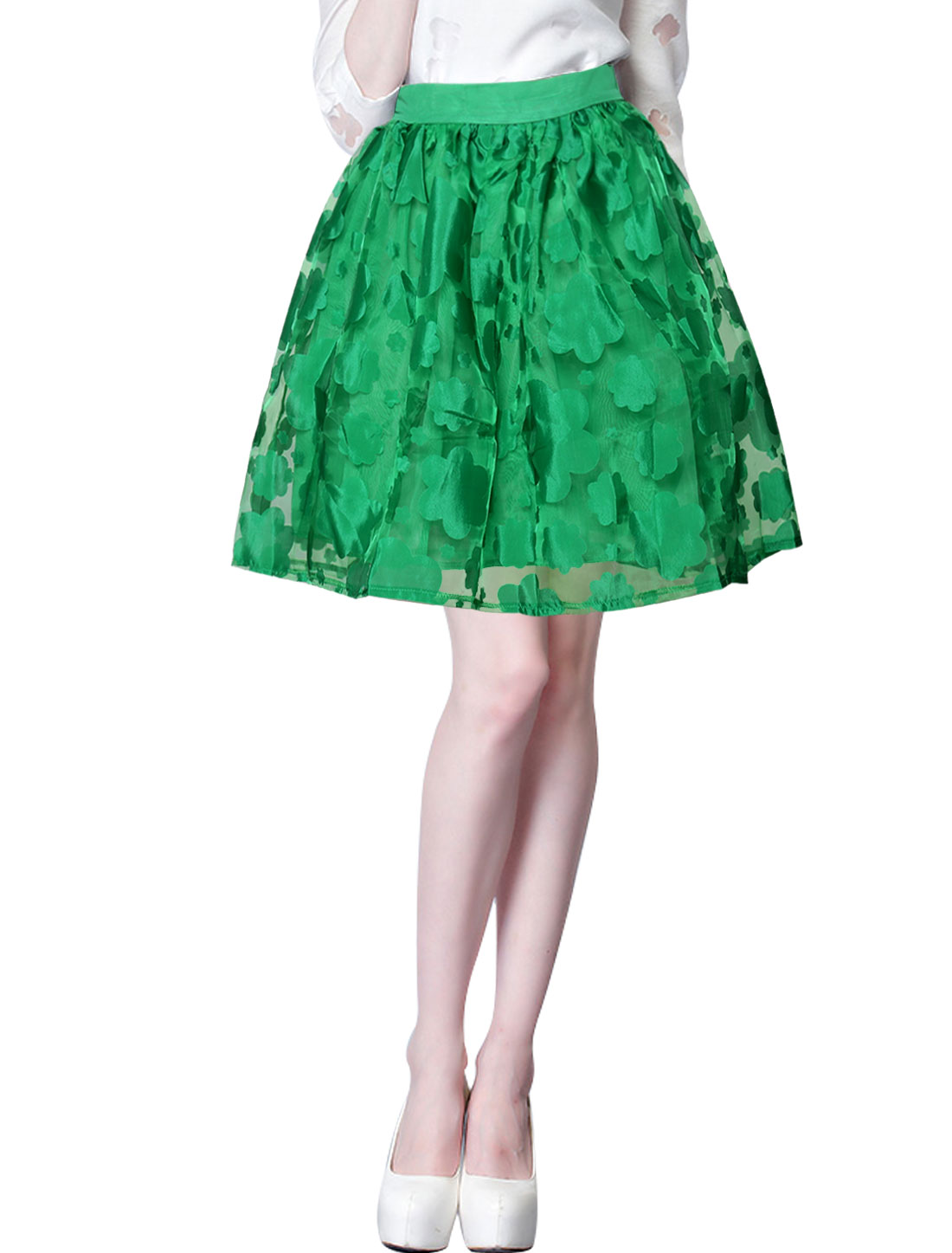 Lady Floral Design Elastic Waist Back Fully Lined Organza Skirt Green M