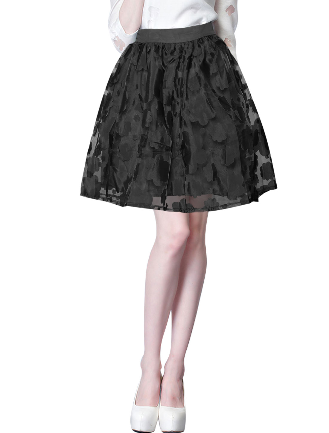 Ladies Floral Design Stretchy Waist Back Full Lining Organza Skirt Black S