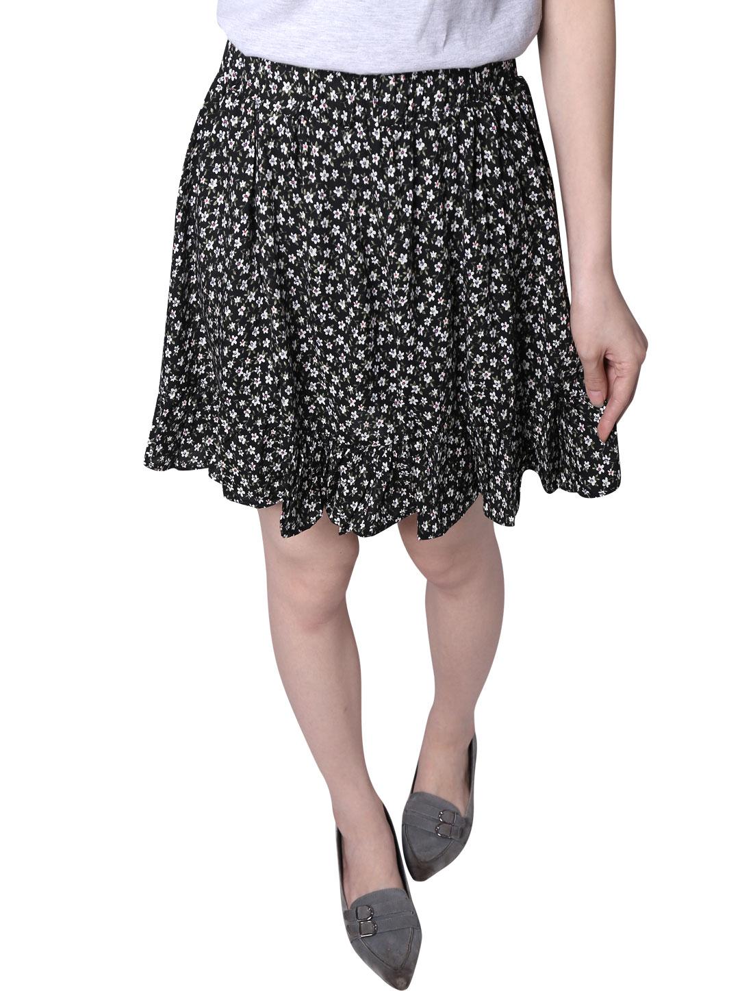 Ladies Floral Prints Stretchy Waist Fully Lined A Line Skort Black XS