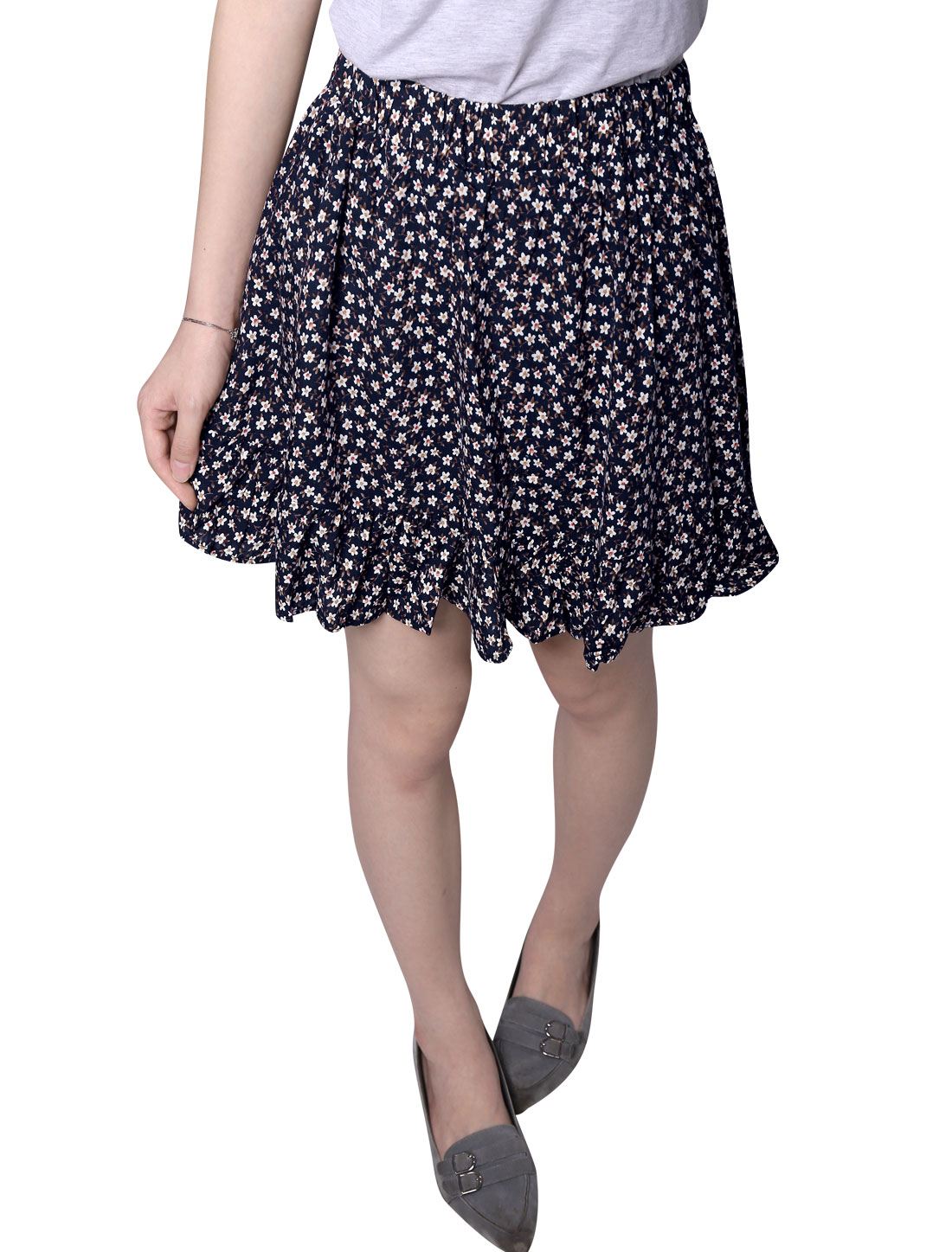 Woman Floral Prints Elastic Waist Fully Lined A Line Skort Navy Blue XS