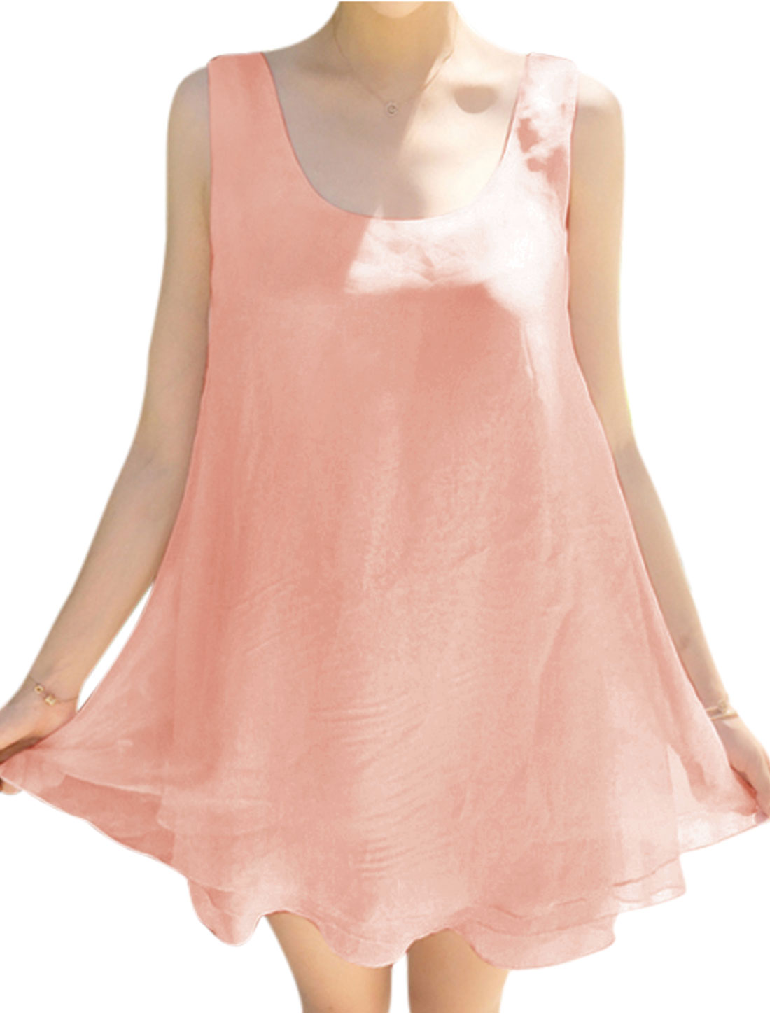 Ladies Tiered Sleeveless Self Tie A Line Dress Pink XS