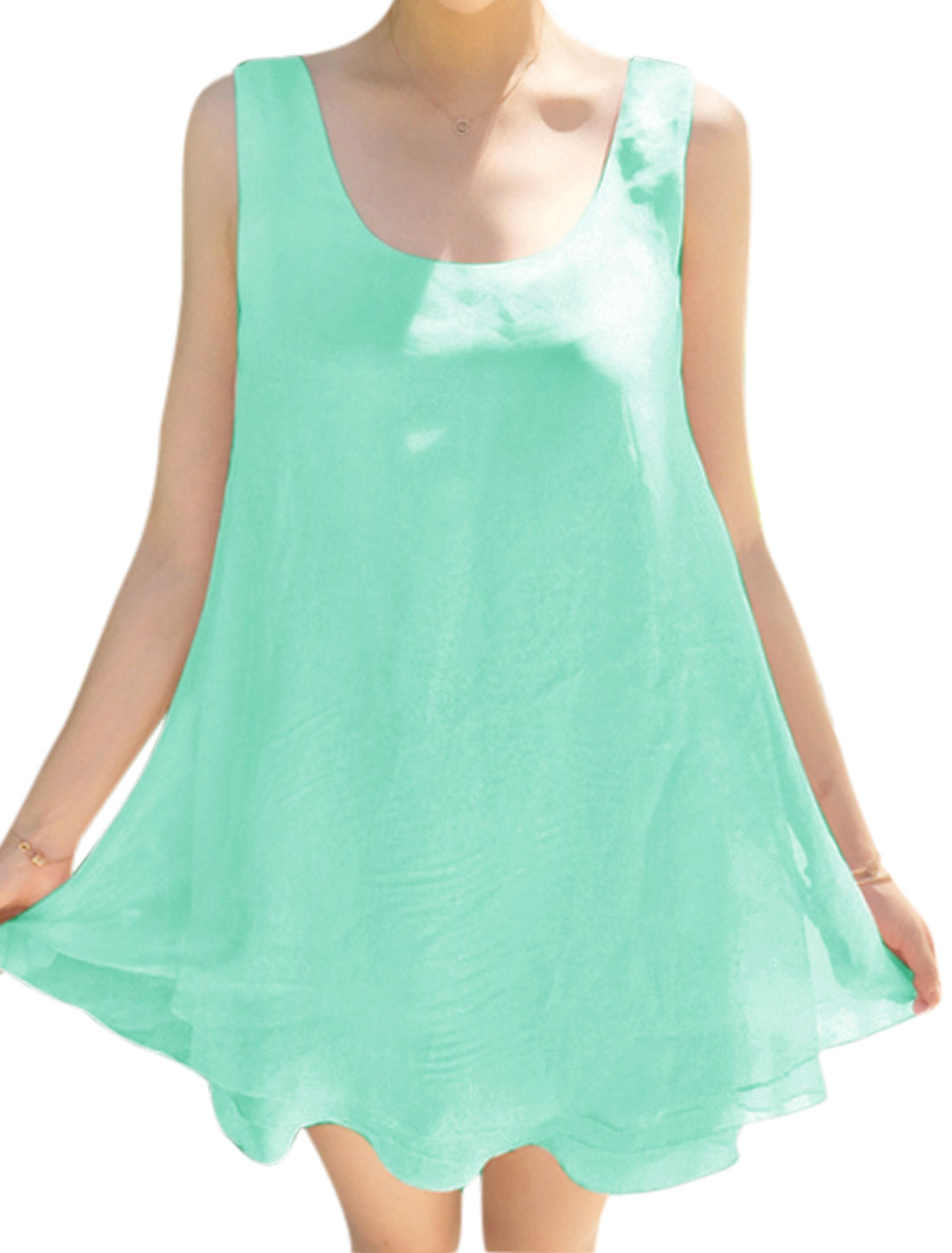 Lady Sleeveless Tiered Self Tie Casual Dresses Mint XS