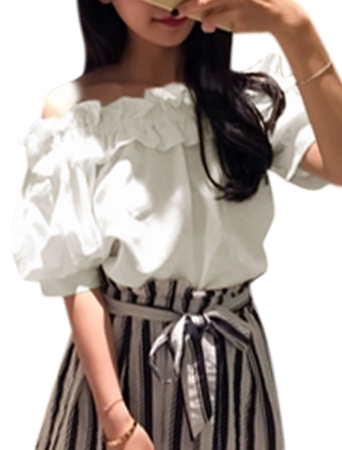 Women Off Shoulder Elbow Sleeves Ruffled Neckline Casual Tops White S