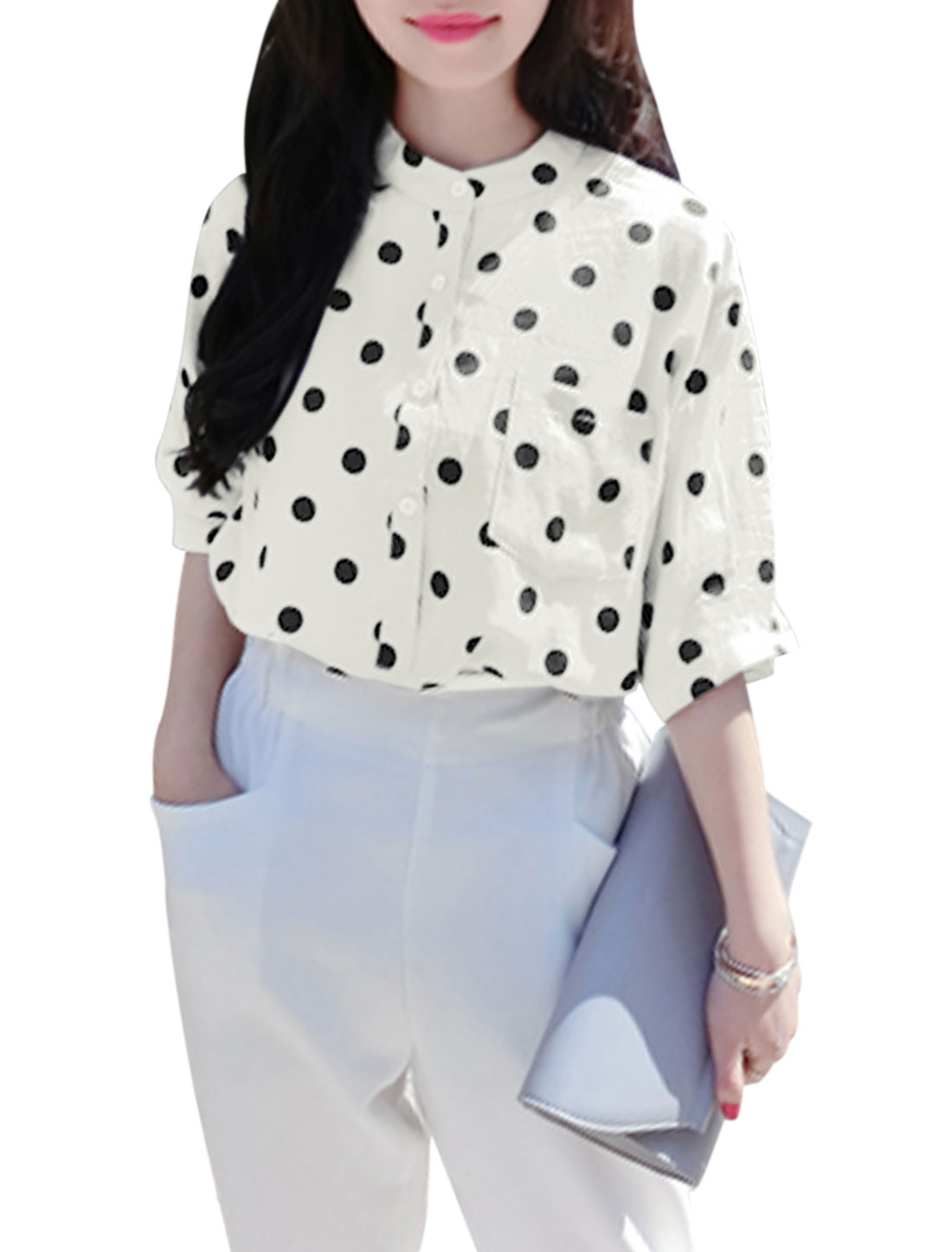 Woman Polka Dots Prints Stand Collar 3/4 Sleeves Button Down Top White XS
