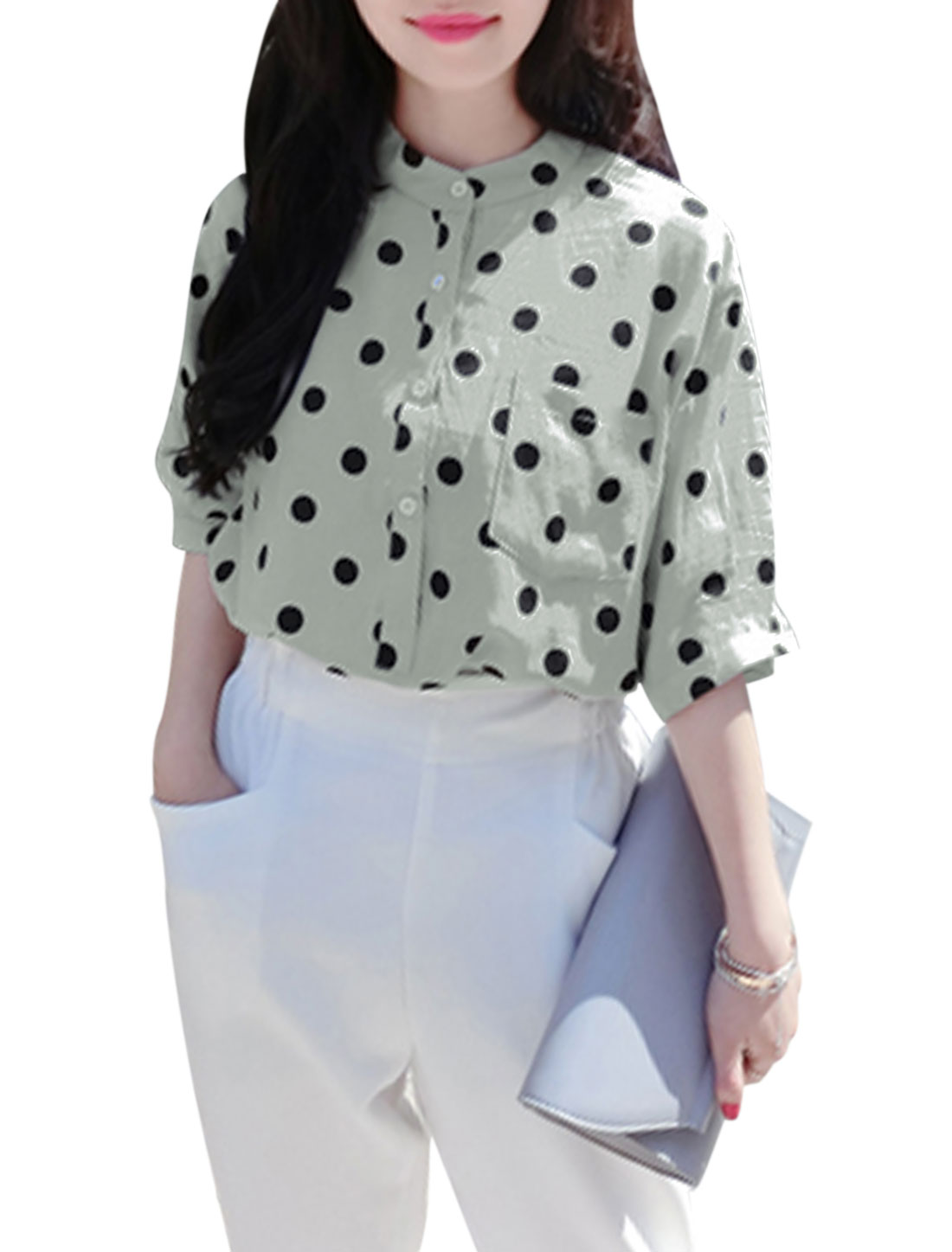 Lady Polka Dots Prints Stand Collar 3/4 Sleeves Top Light Gray XS