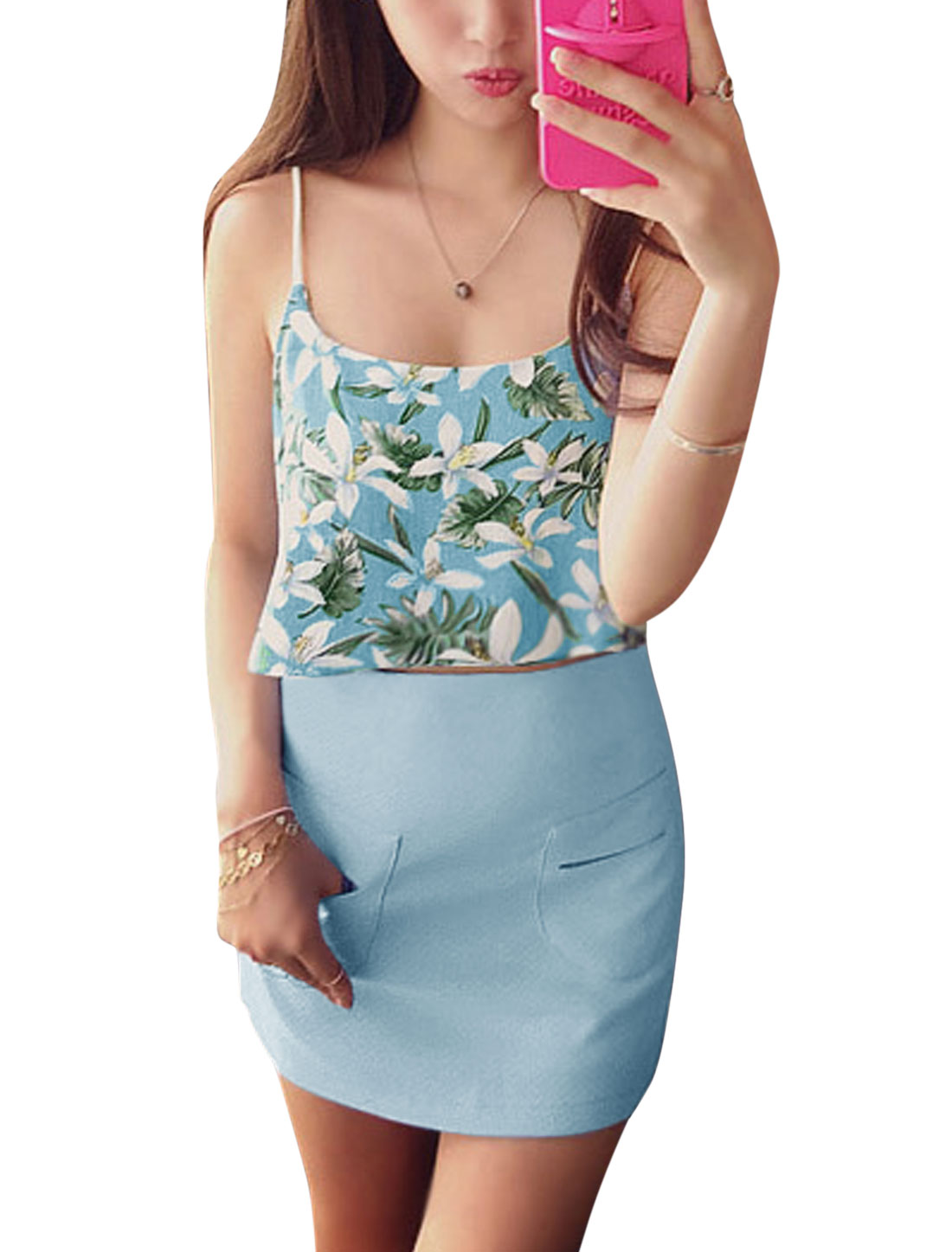 Woman Floral Prints Crop Top w Slim Fit Straight Skirt Set Light Blue XS