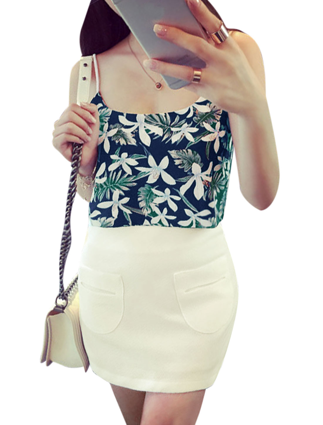 Woman Floral Prints Chiffon Crop Top w Pocketed Straight Skirt Set Dark Blue White XS
