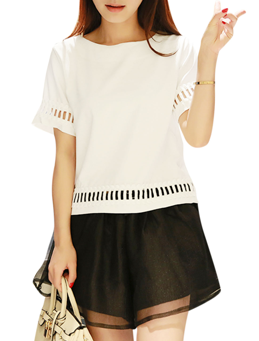 Lady Hollow Out Detail Round Neck Short Sleeves Slipover Panel Top White XS