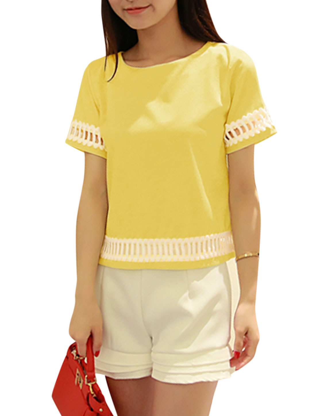 Woman Hollow Out Detail Round Neck Short Sleeves Panel Top Yellow XS