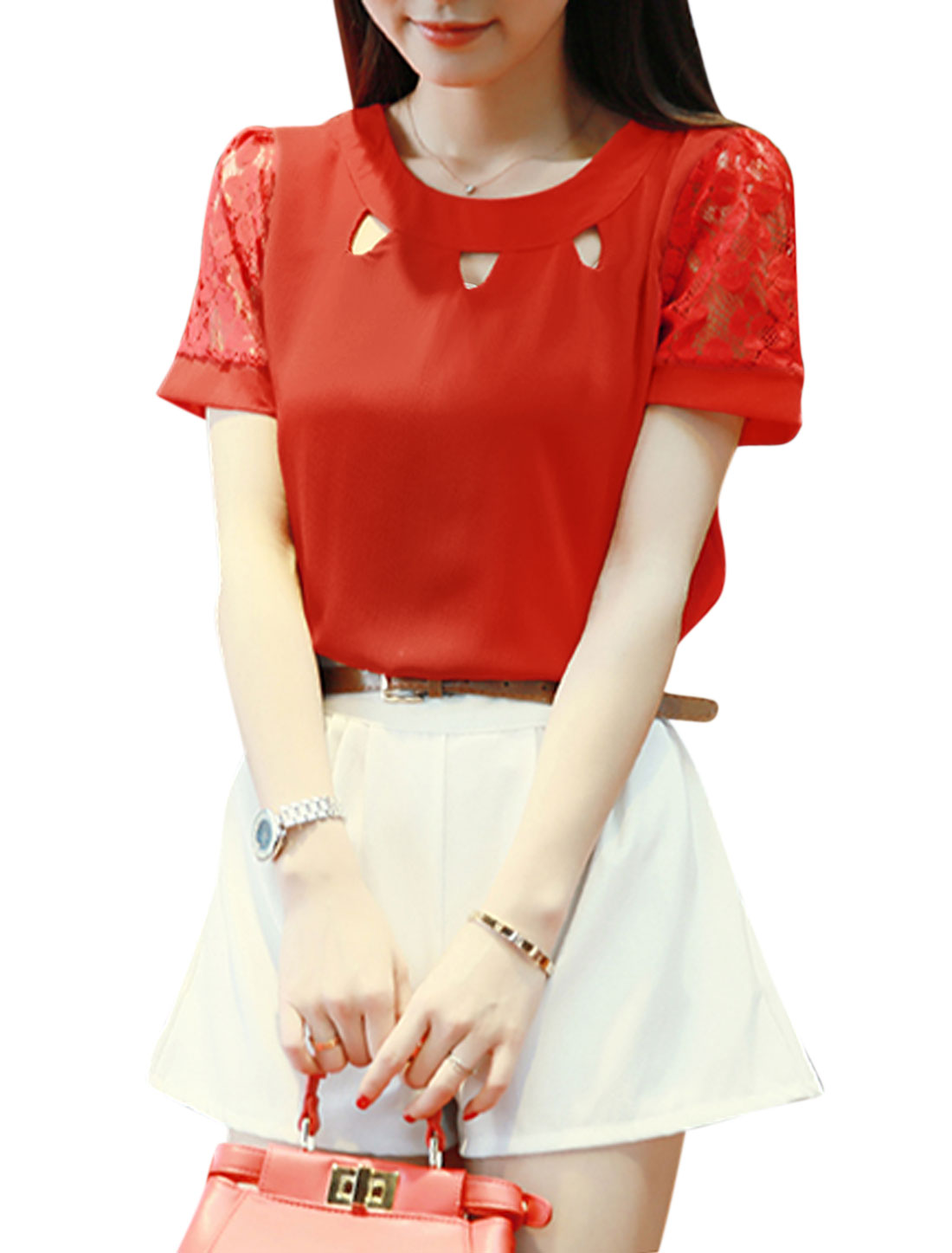 Women Short Semi Sheer Sleeves Cut Out Casual Tops Red XS