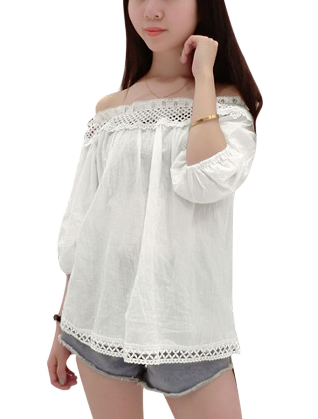 Women Off Shoulder 3/4 Sleeves Crochet Trim Casual Tops White S