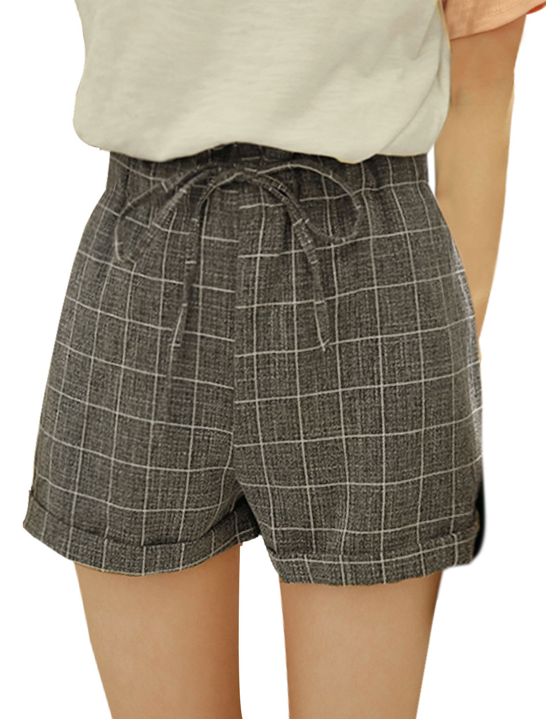 Women Mid Rise Drawstring Waist Checks Casual Shorts Gray XS