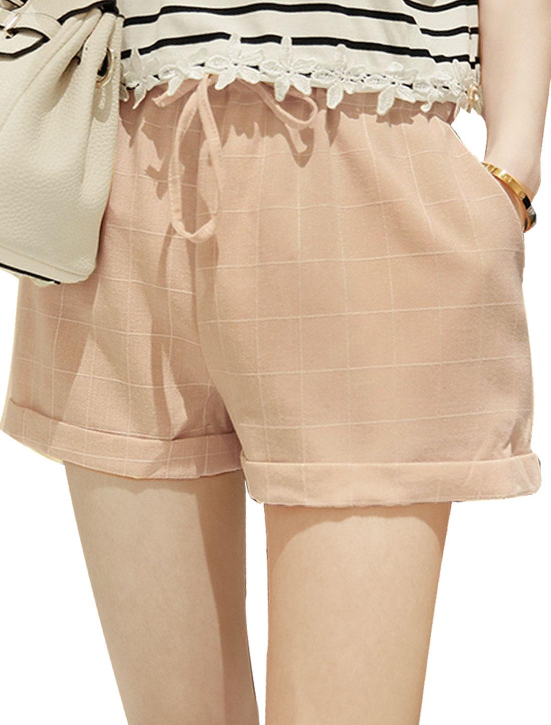 Lady Mid Rise Checks Cuffed Casual Shorts Pale Pink XS