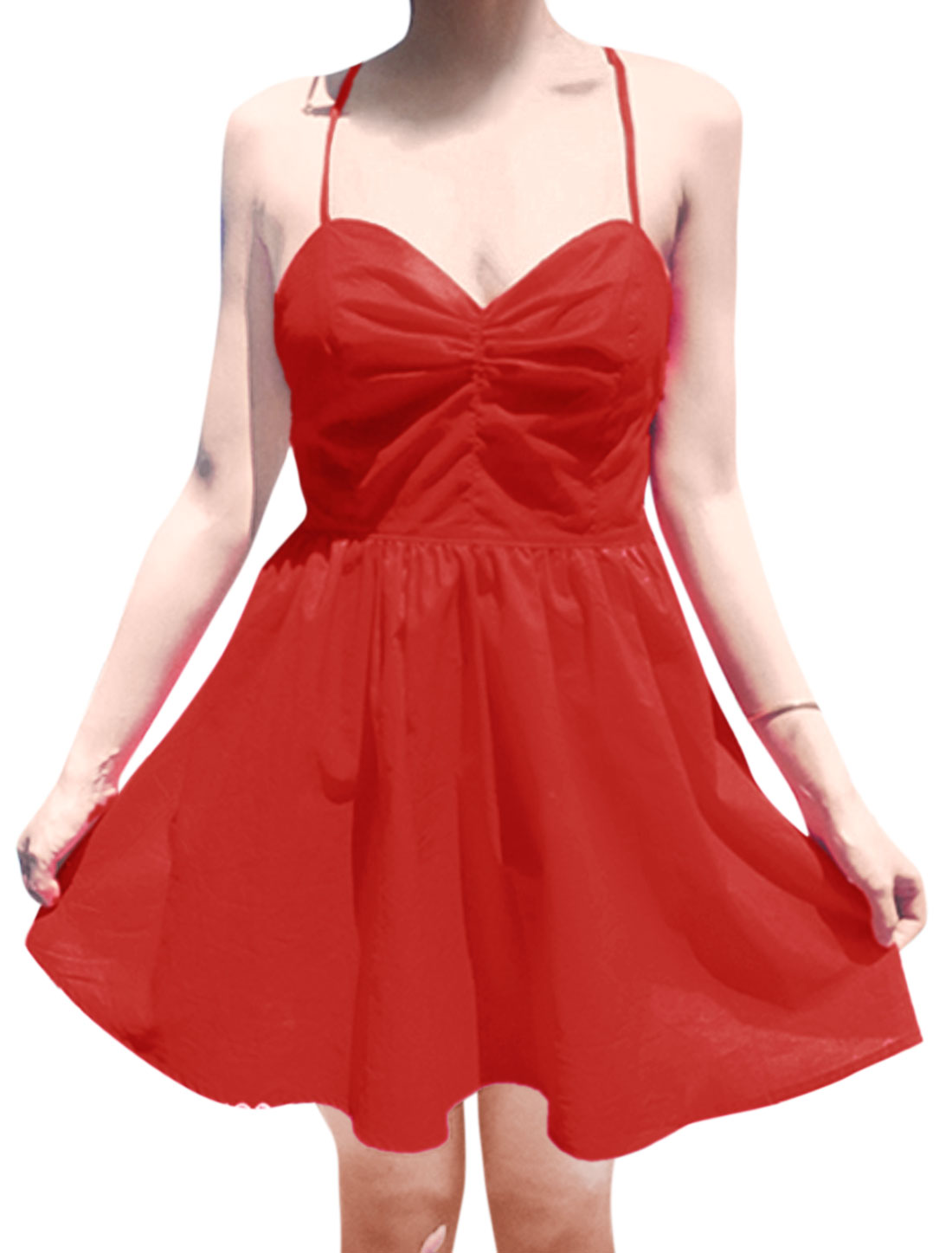 Ladies Sweetheart Neckline Lace-Up Back Shirred Front Sexy Dress Red S