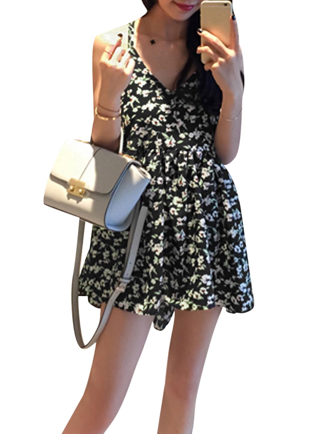 Women Floral Prints Deep V Neck Slipover Strappy Back Summer Dress Black M