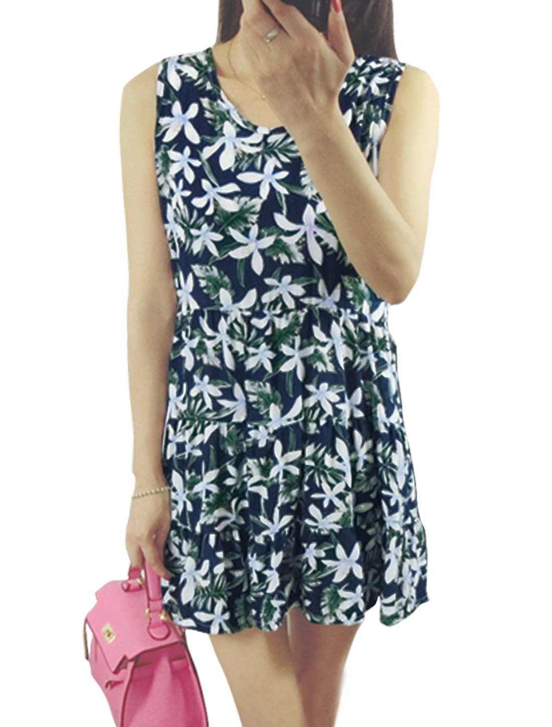 Ladies Sleeveless Unlined Floral Prints A Line Dresses Navy Blue S