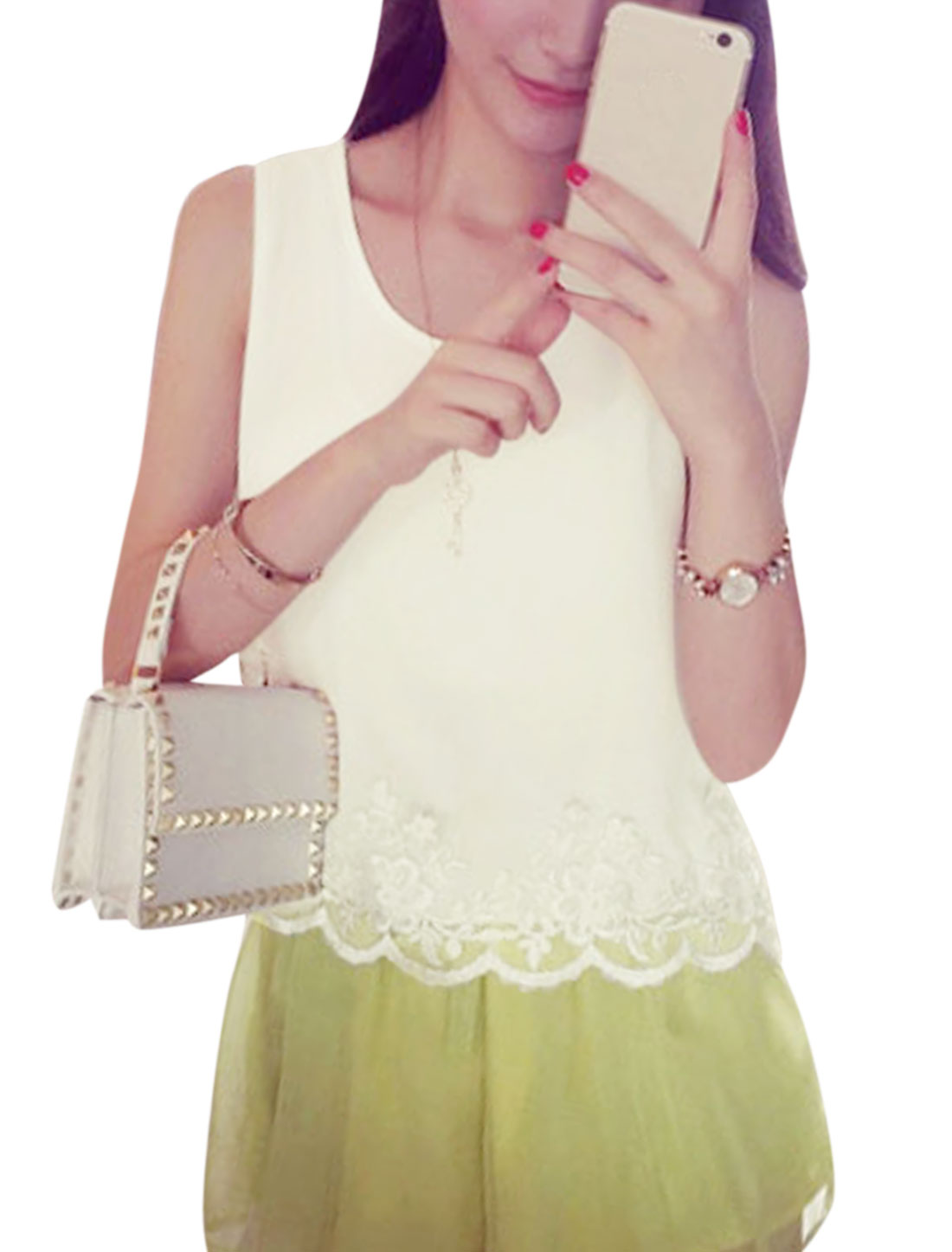 Woman Scoop Neck Sleeveless Lace Panel Chiffon Top White XS