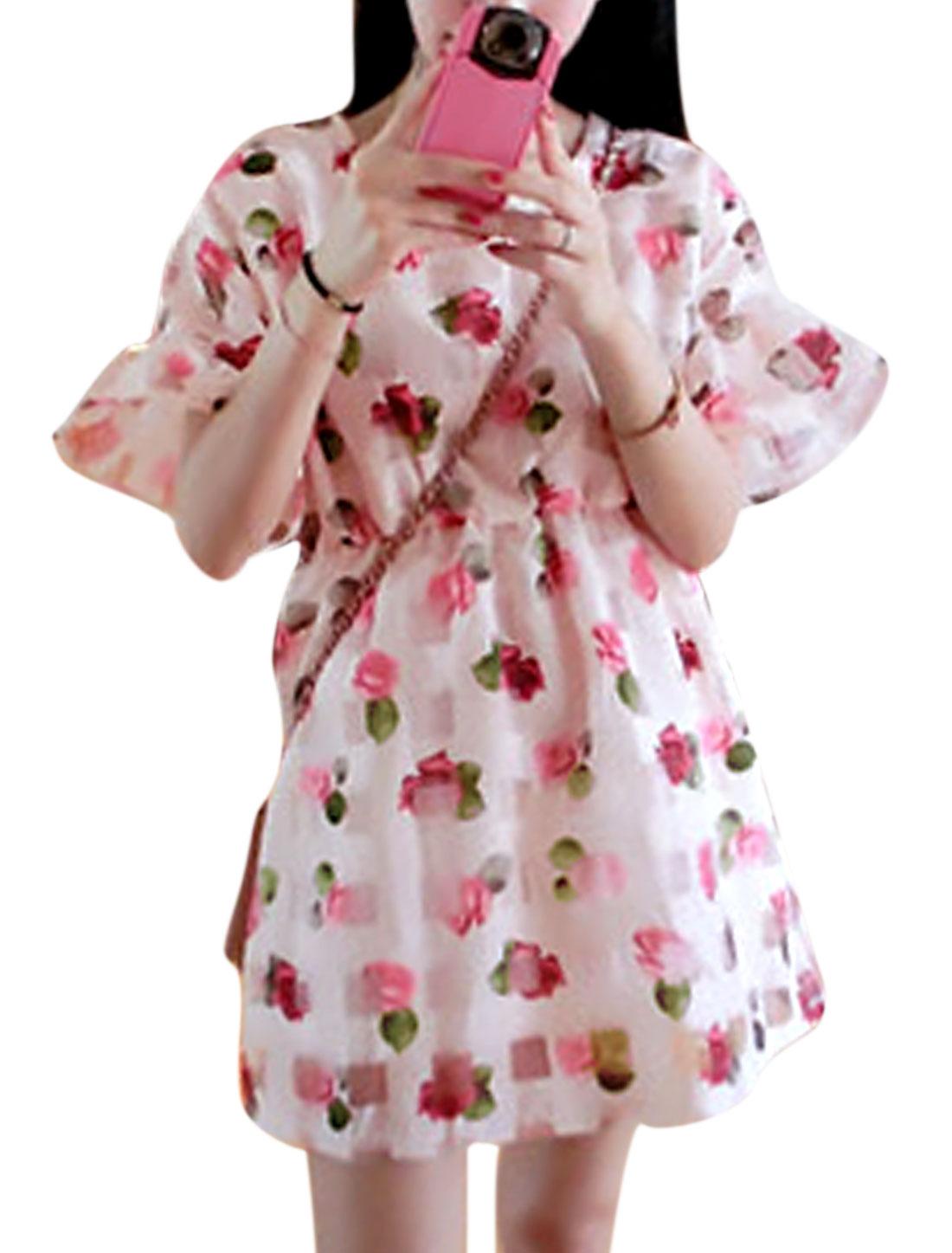 Women Rose Prints Short Sleeves A Line Organza Dress Light Pink S