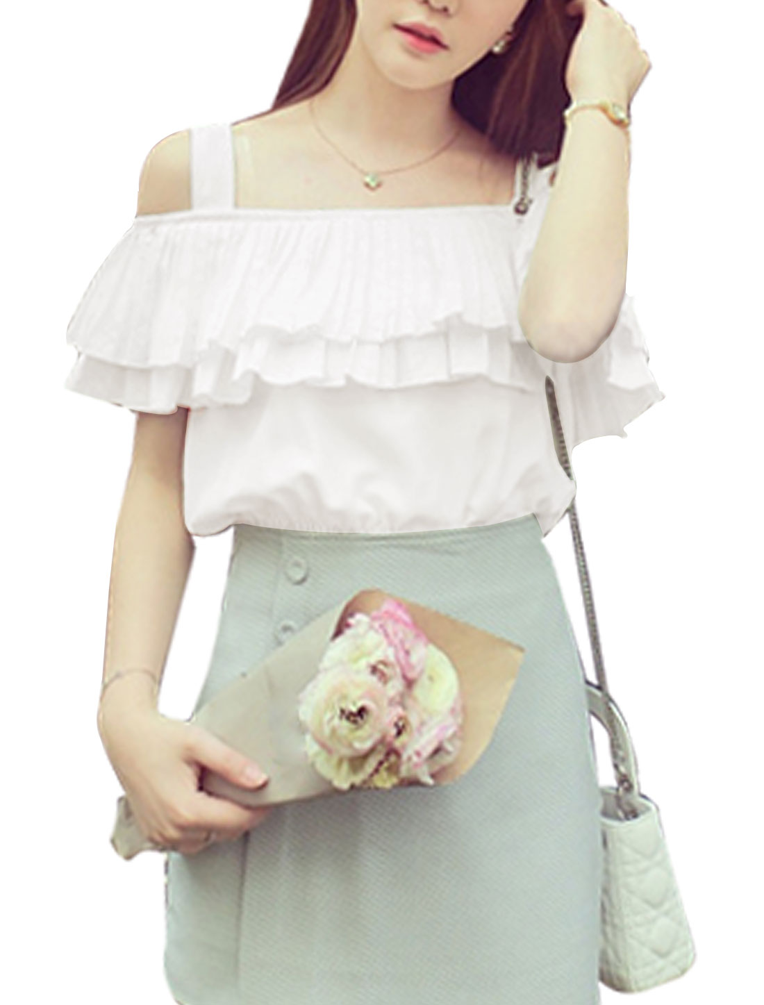 Woman Cut Out Shoulder Pleated Layered Upper Slipover Chiffon Top White XS