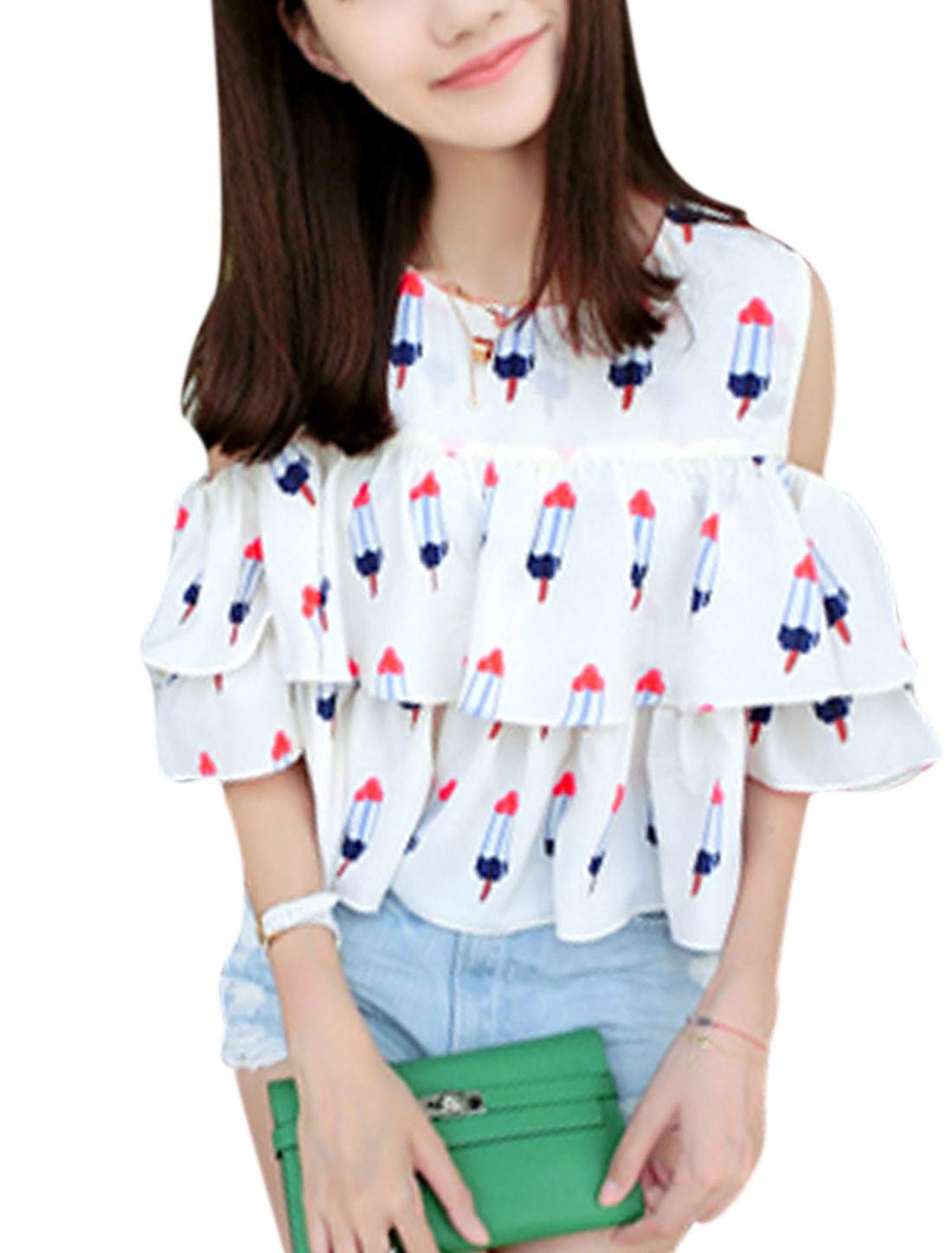 Woman Ice-cream Pattern Cut Out Shoulder Round Neck Layered Top White XS