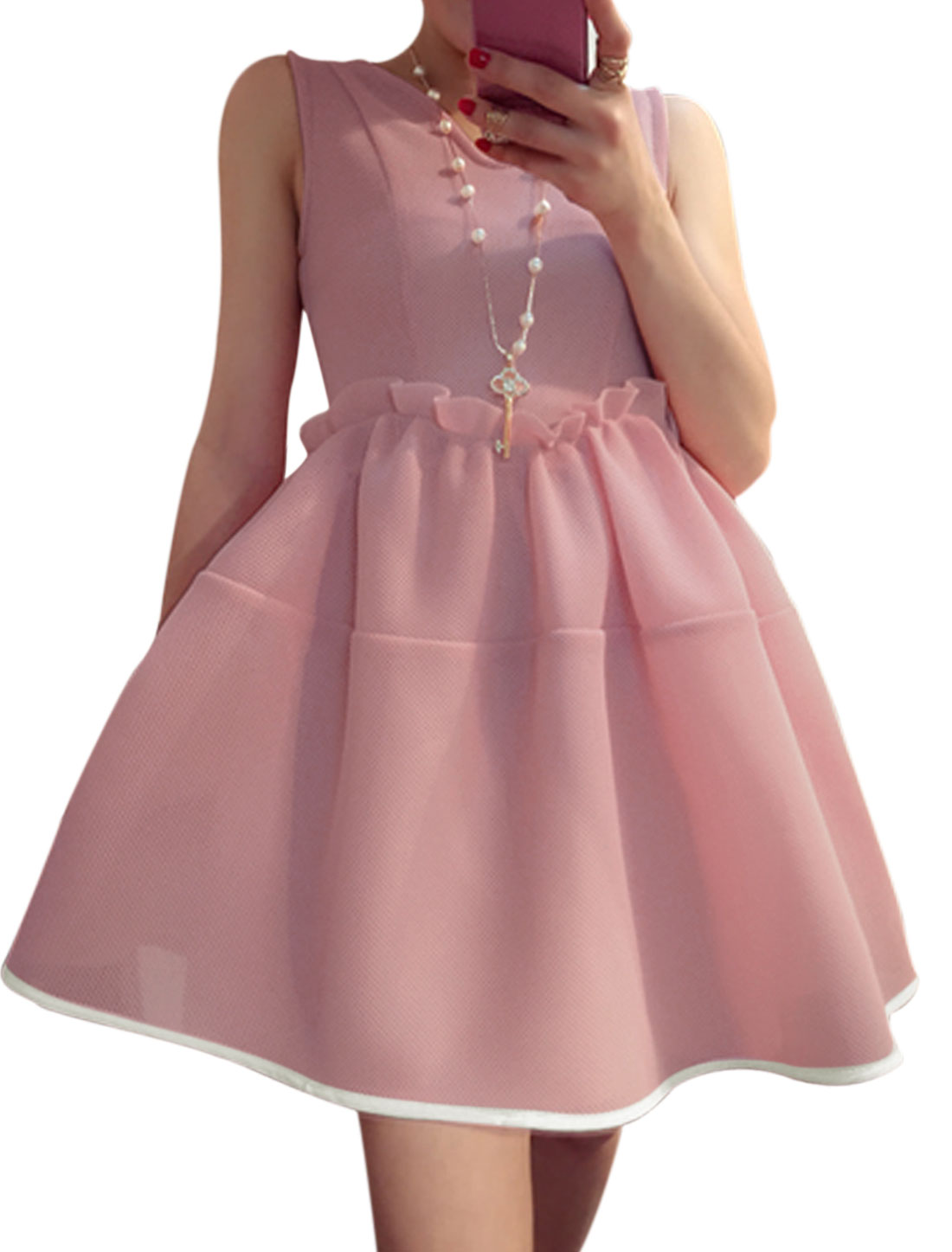 Women V Neck Sleeveless Unlined Skater Dress Pink XS