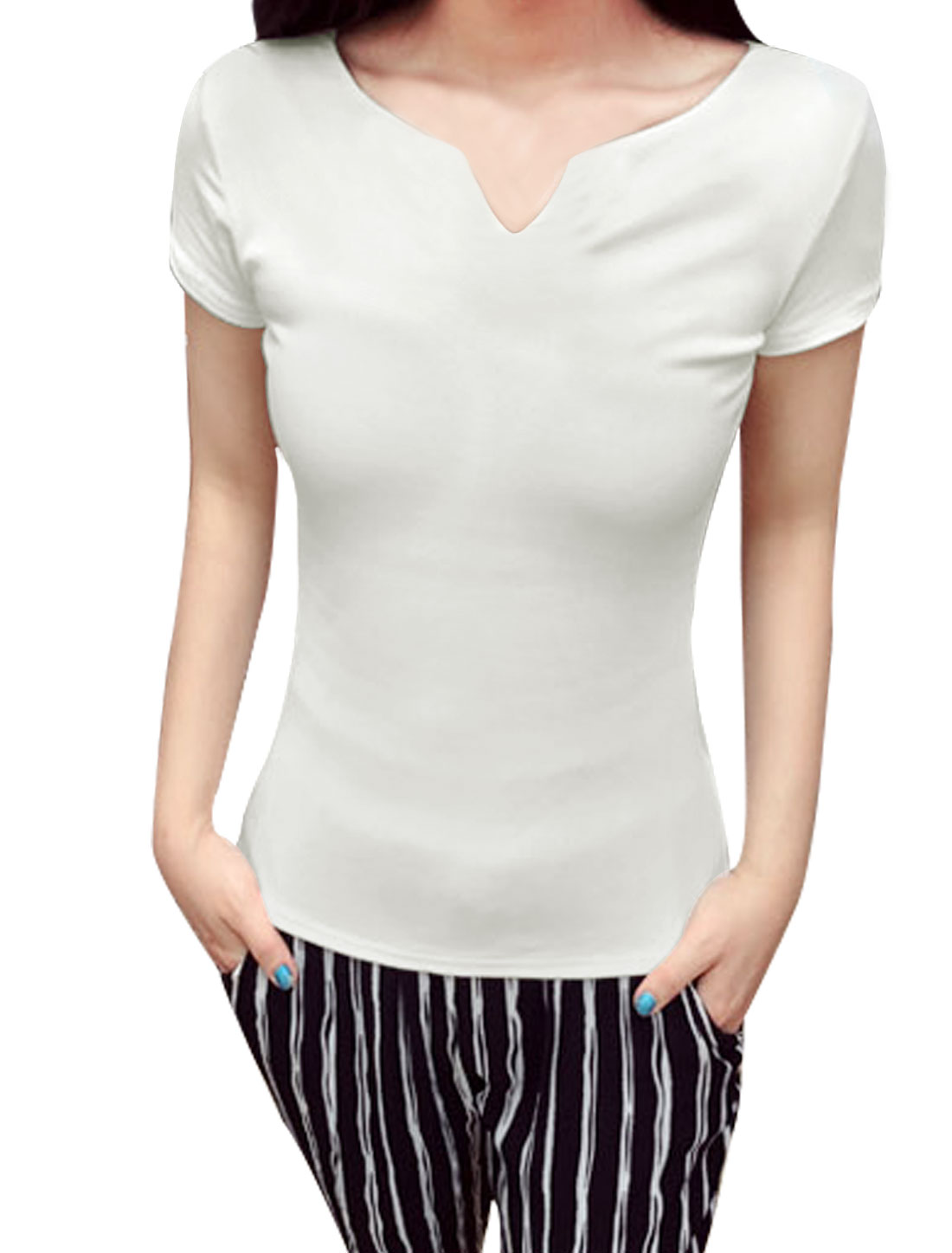 Ladies Split Neck Short Sleeve Slim Fit Casual T-Shirt White XS