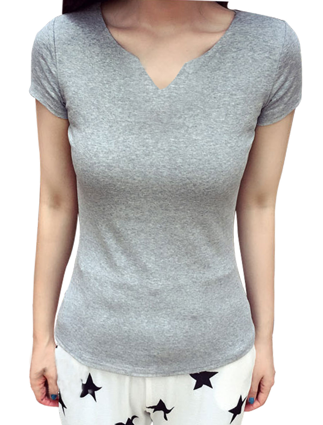 Women Split Neck Short Sleeve Slim Fit Summer T Shirt Light Gray XS