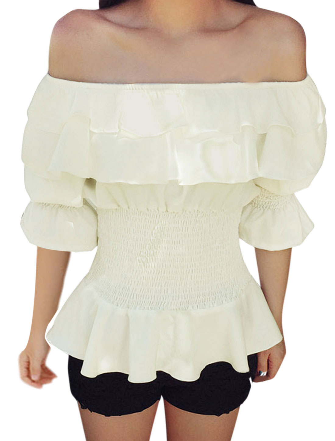 Woman Off Shoulder Smocked Design Layered Upper Peplum Top White XS