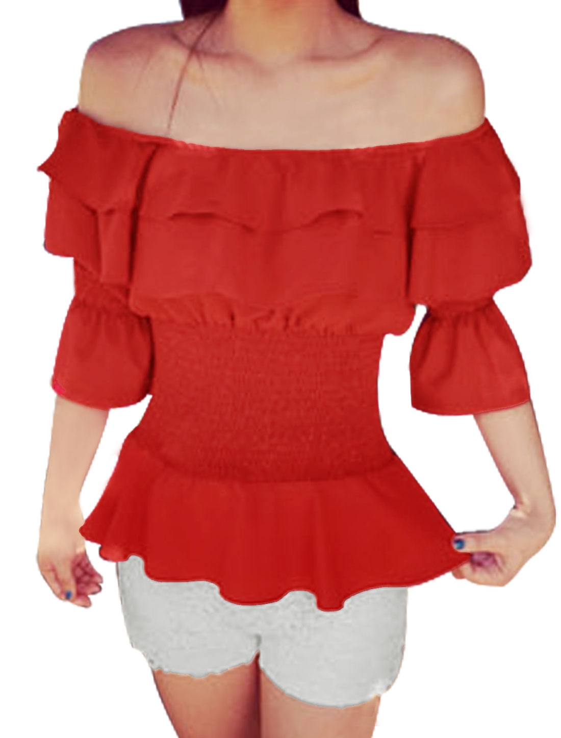 Woman Off Shoulder Smocked Design Slim Fit Peplum Top Red XS