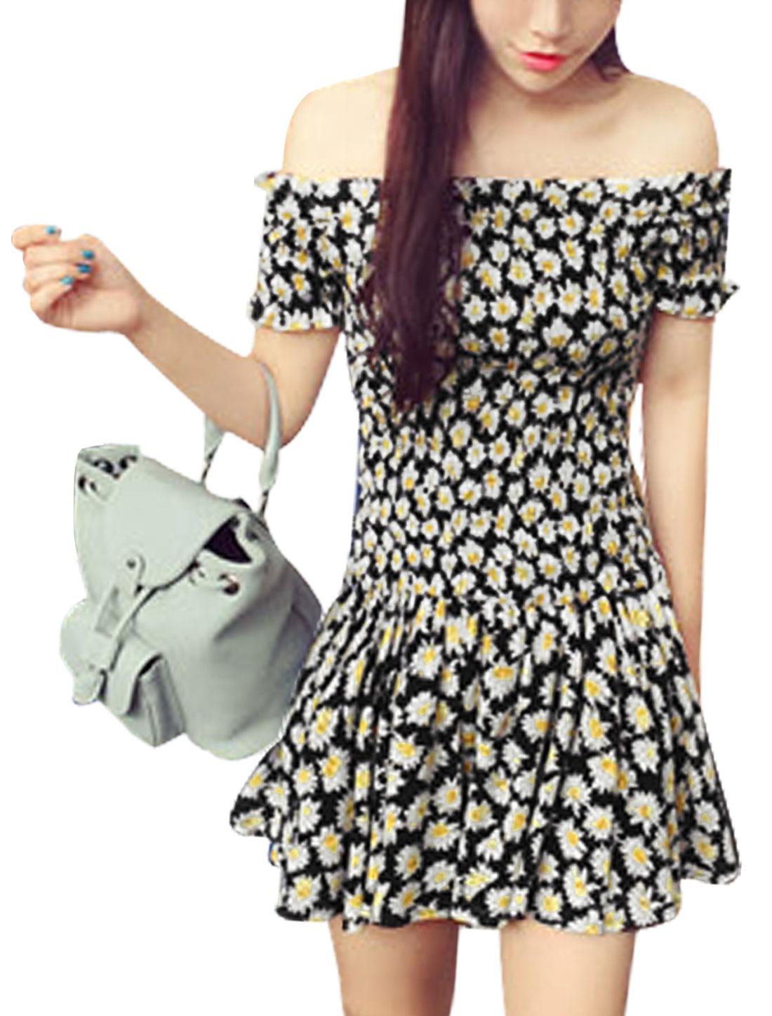 Ladies Floral Print Smocked Waist Casual Dress Black White XS
