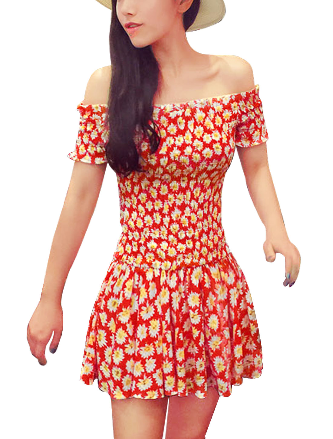 Women Off Shoulder Floral Print Smocked Bust Casual Dresses White Red XS