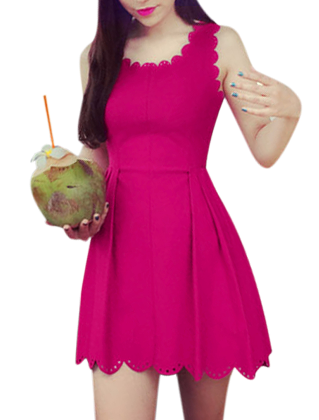 Ladies Sleeveless Scalloped Neck Hollow Detail A Line Dress Fuchsia S