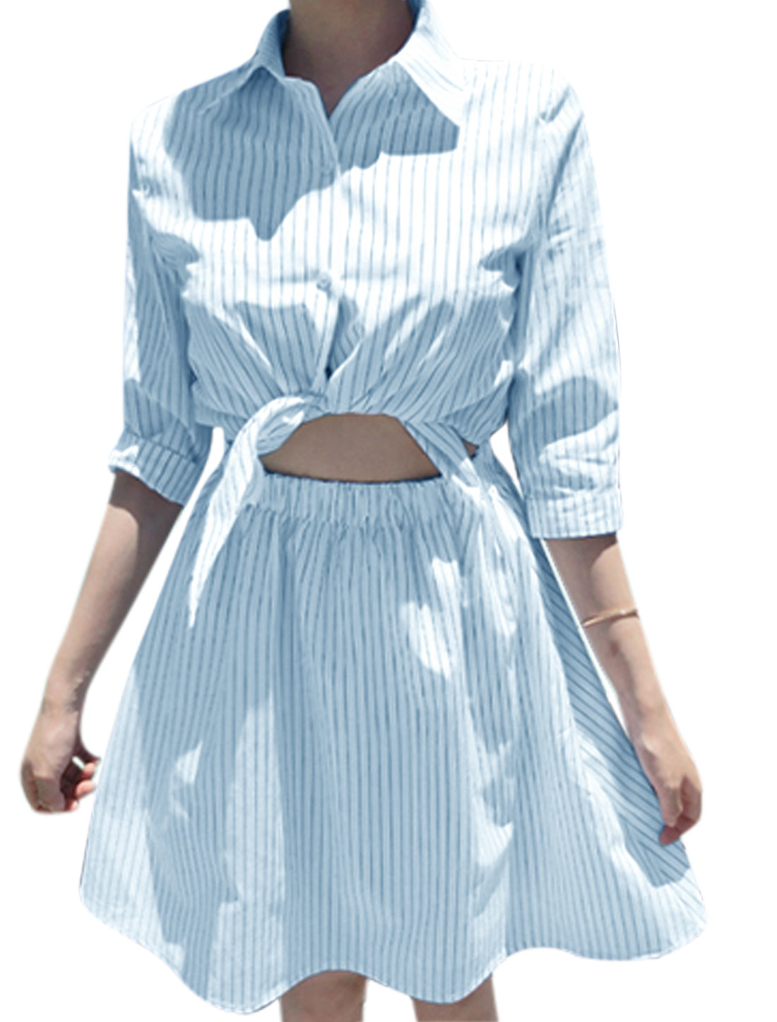 Ladies 3/4 Sleeve Stripes Cut Out Front Shirt Dress White Blue XS