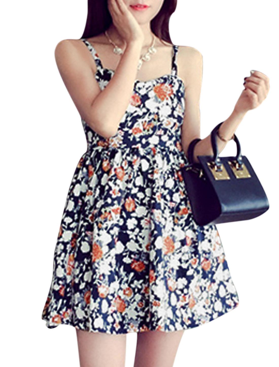 Women Sweetheart Neckline Floral Prints Skater Dress Black XS