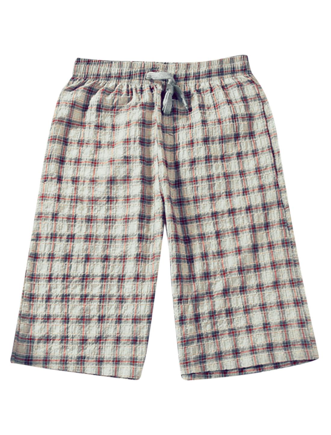 Men Drawstring Waist Check Print Pockets Short Shorts Beige Burgundy W30